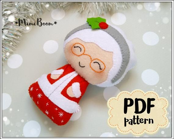 ff3bcd2545dc4 Mrs Claus pattern Christmas ornaments felt pattern Christmas