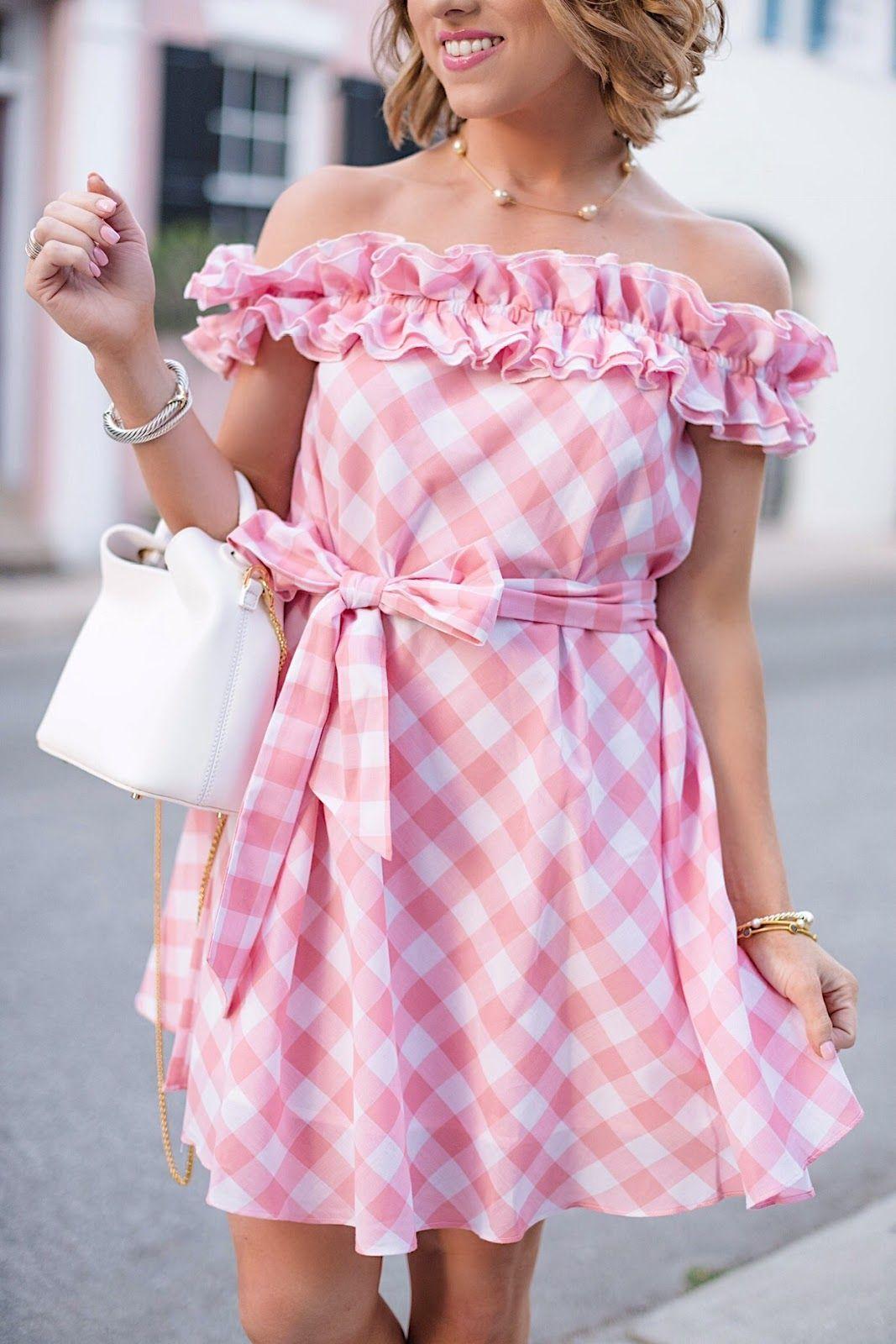 Pink gingham dress huge shopbop sale dresses pinterest