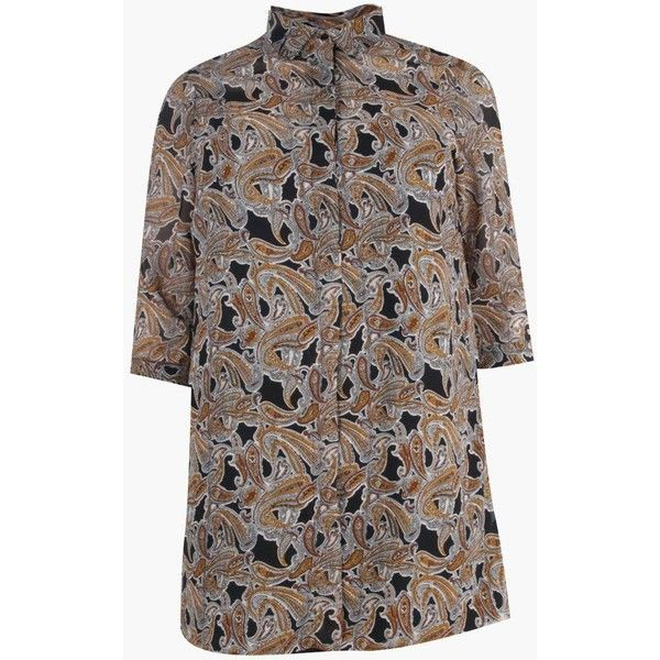 Boohoo Plus Marin Paisley Shirt Dress (1.890 RUB) ❤ liked on Polyvore featuring dresses, paisley day dress, paisley print dress, brown shirt dress, boohoo dresses and t-shirt dresses