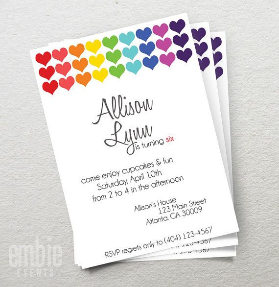 Rainbow Heart Birthday Party Invite Invitation 5x7 Printable DIY