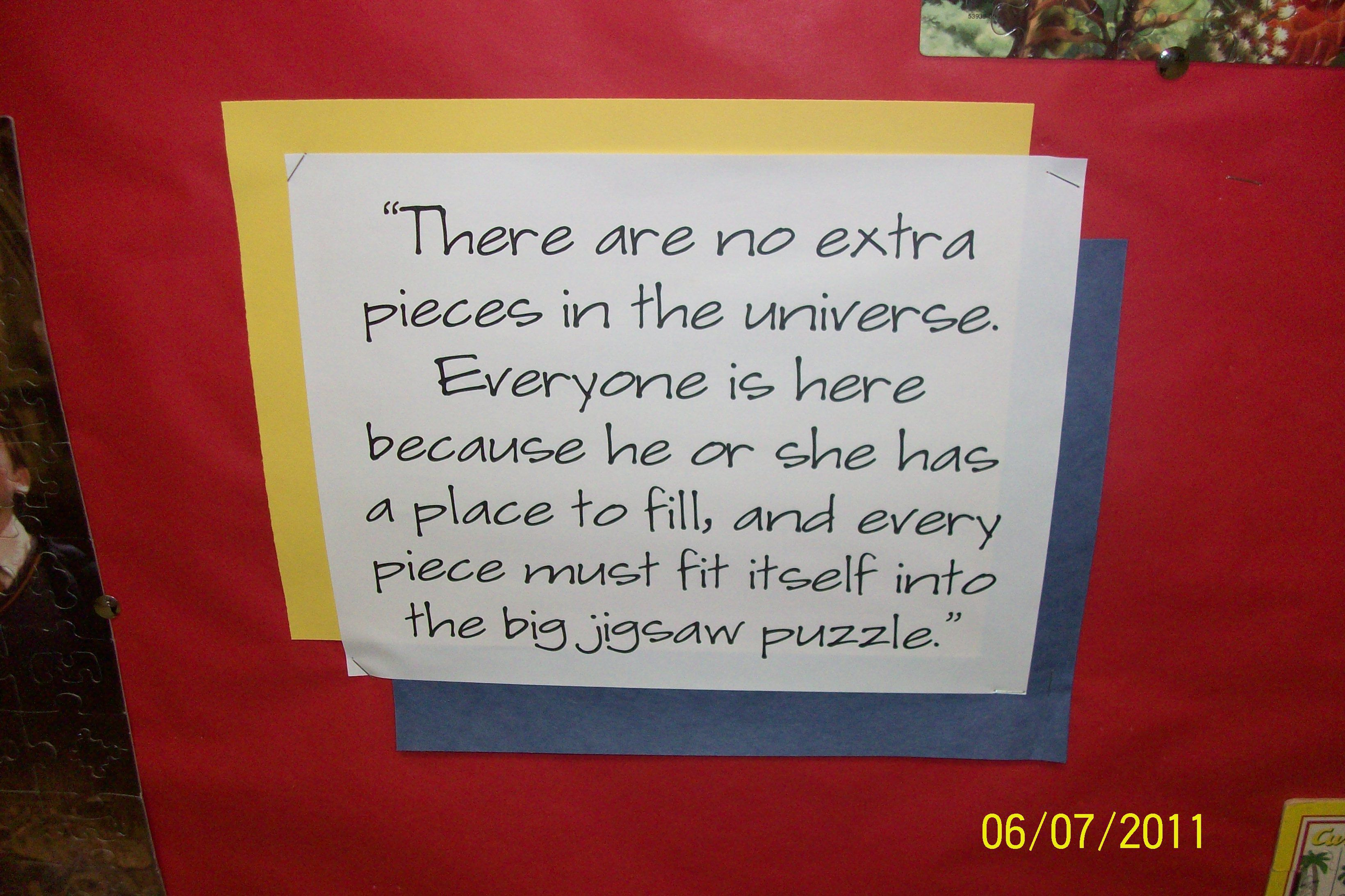 Quote to go along with the puzzle bulletin board.   Puzzle ...