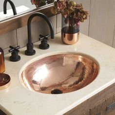 """Photo of Native Trails CPS468 Polished Copper Classic 17 """"Single Basin Undermount Copper Bathroom Sink"""