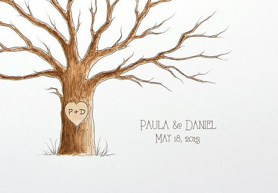 MEDIUM Wedding Tree Guest Book 20 x 16 Family Tree by PaperTwig