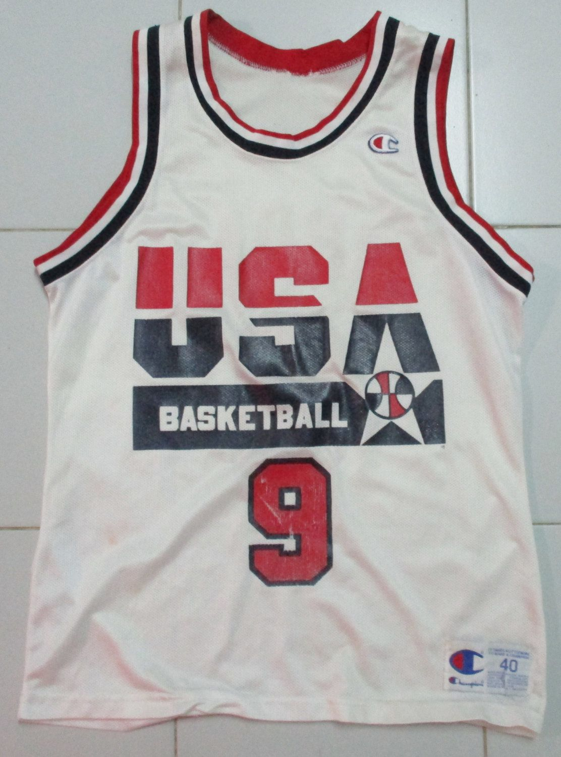 b0404e2cdb064 Vintage 90s champion jersey basketball USA team micheal jordan NBA size 40  very rare!! by OHCHYVINTAGE on Etsy
