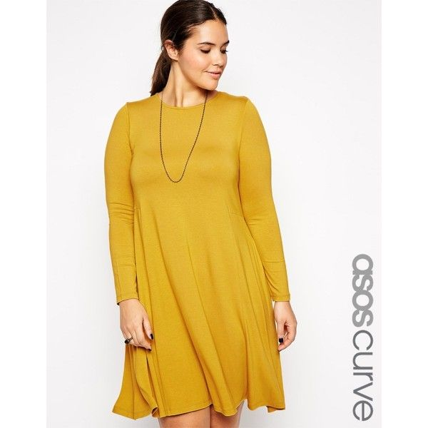 asos curve swing dress with seam detail ($29) ❤ liked on polyvore
