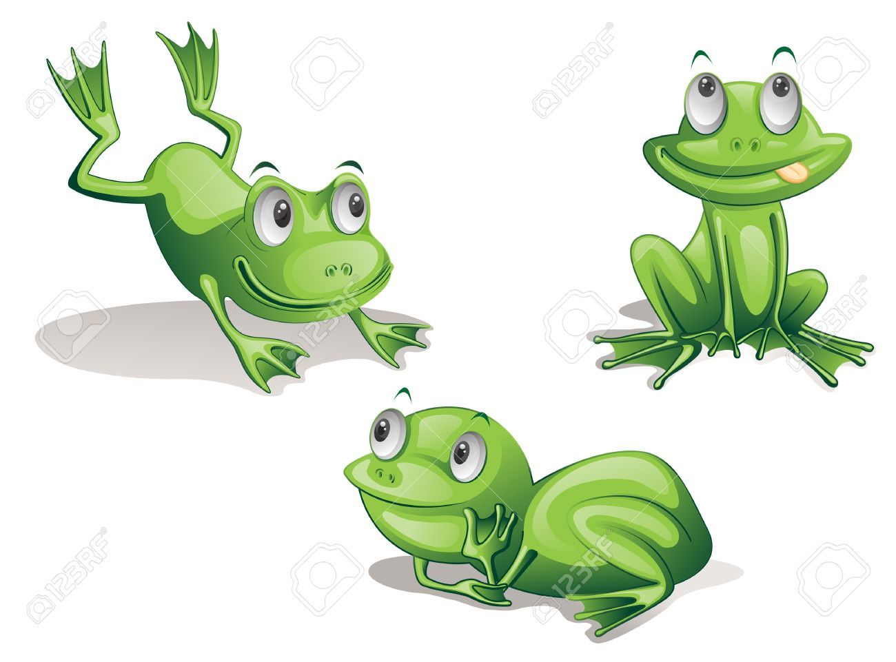 13215985 illustration of three frogs on white Stock