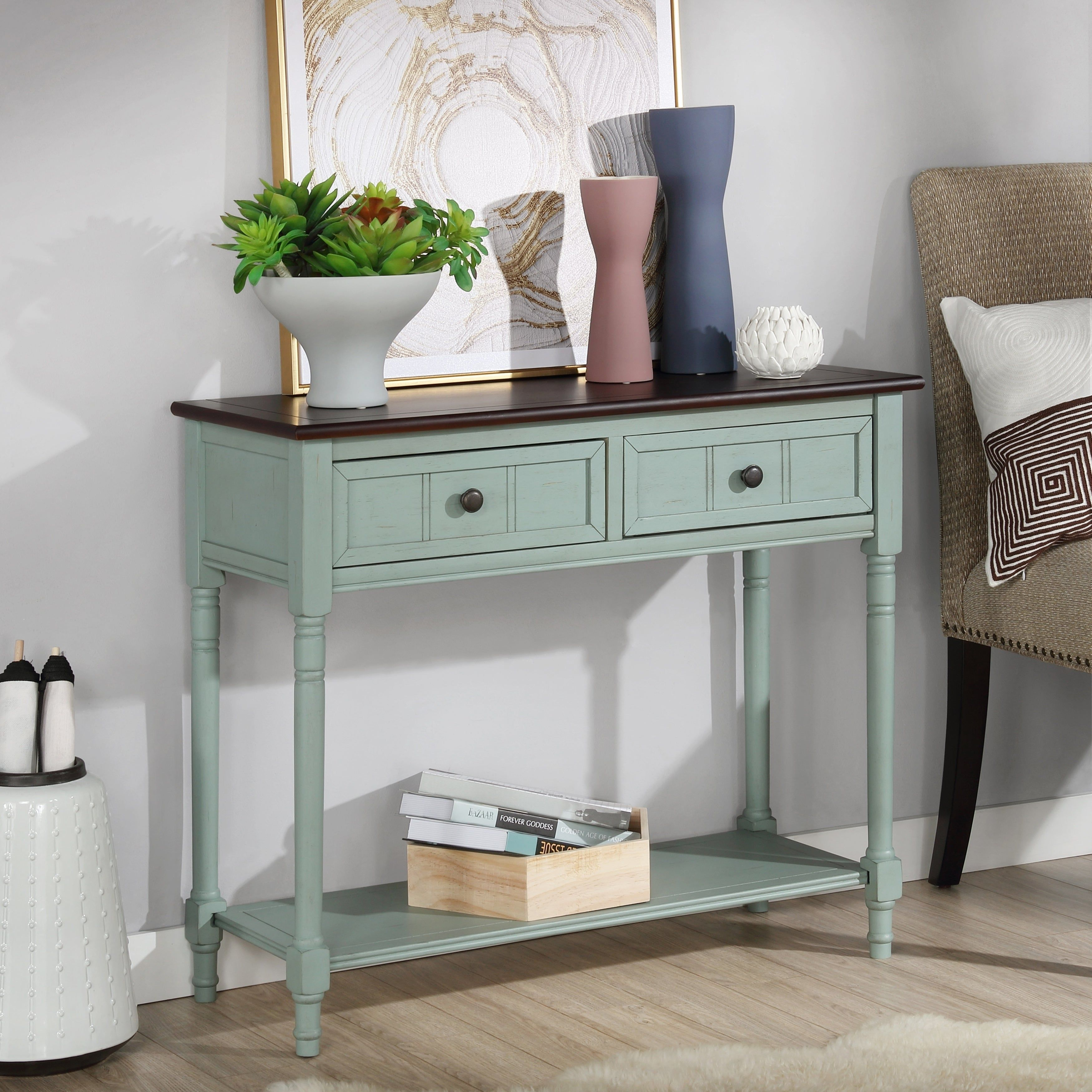 The Gray Barn Cattail Hollow Farmhouse Antique Blue Console Table