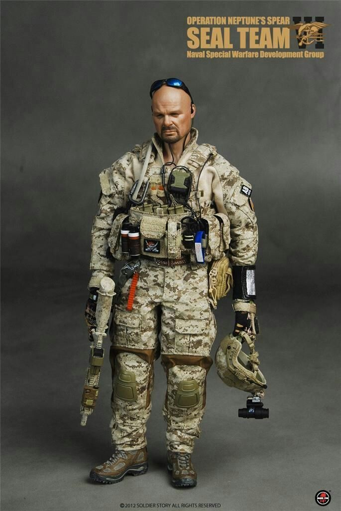 "1//6th Scale Navy SEAL Bearded Head Sculpt For 12/"" Male Action"