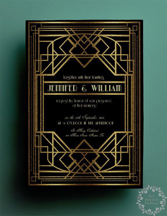 Printable Art Deco Wedding Invitation And Rsvp By 101prettydesigns Gatsby Gold Glitter