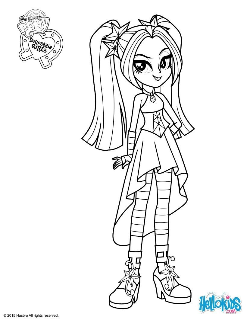 Aria Blaze Coloring Page My Little Pony Coloring Cartoon