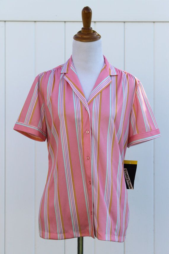 Vintage 70s Pink Candy Striped  Shirt Blouse by by TheRubyOlive, $20.00