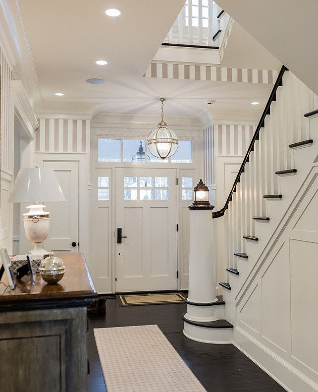 Grey Panelling Under Stairs: Love This Classic Nautical Themed Entry. Dark Woods And