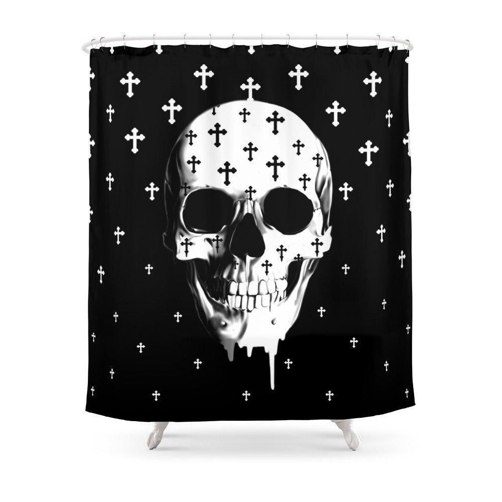 Gothic Skull Shower Curtain Bath Products Bathroom Decor With 12 Hooks Waterproof Skull Shower Curtain Bathroom Shower Curtains Dark Curtains
