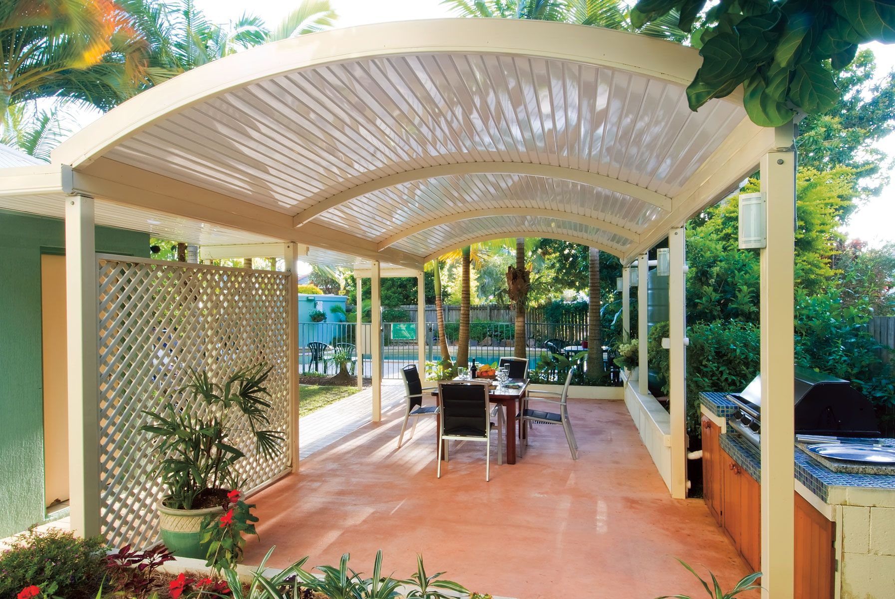 Best The Stratco Outback Curved Roof Patio Is A Unique Sleek 640 x 480