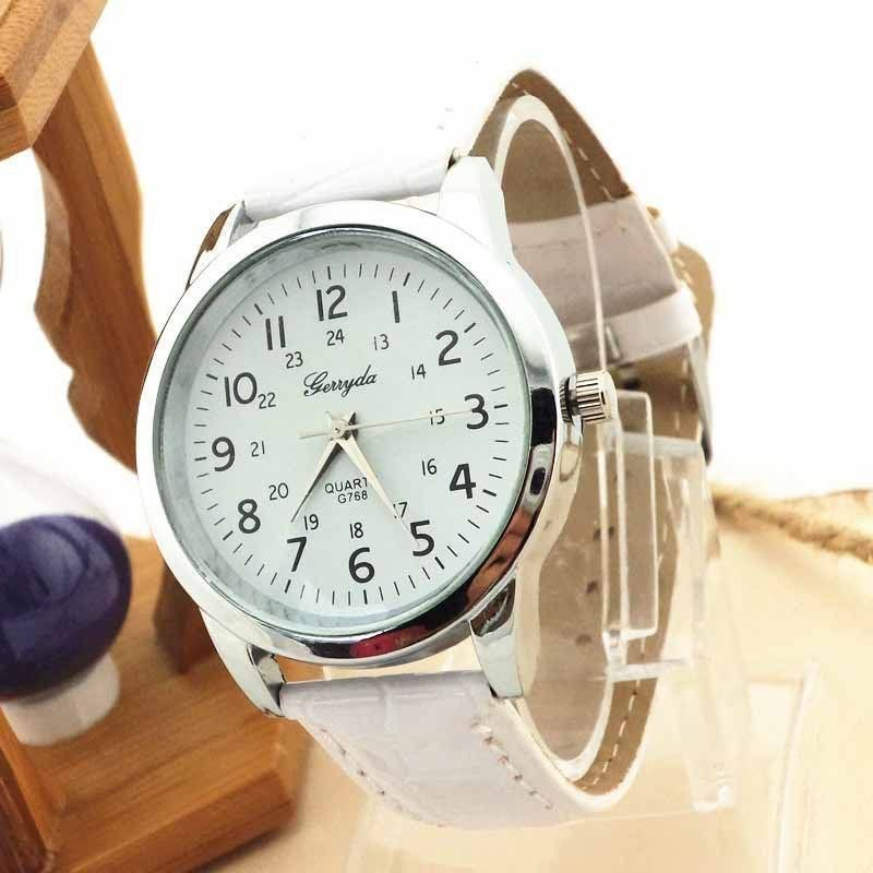 ecfe6040292 Relógio Big Dial analógico esportivo de luxo pulseira de couro de quartzo.  Relógio Feminino