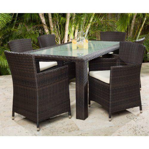 brown set patio source outdoor. Source Outdoor St. Tropez Zen All-Weather Wicker 72 In. Patio Dining Set Brown