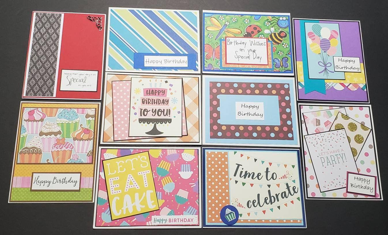 10 Homemade Birthday Card Greeting Card Pack Handmade Etsy Greeting Card Packs Homemade Greeting Cards Birthday Cards