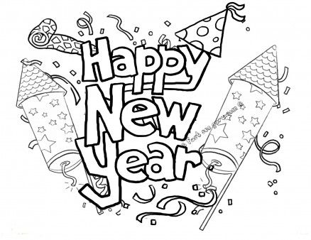 Happy New Year Coloring Pages Free Printable | Paper Trail Design | 338x438