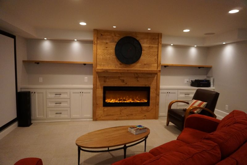Basement Media room and built ins. Design and construction by ...