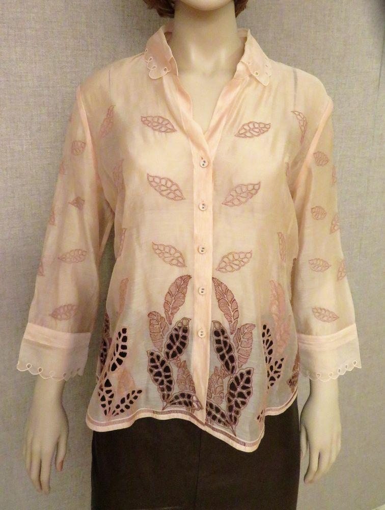 44c415107277 Lafayette 148 New York top tunic blouse dress shirt eyelet embroidery S M 6  silk  fashion