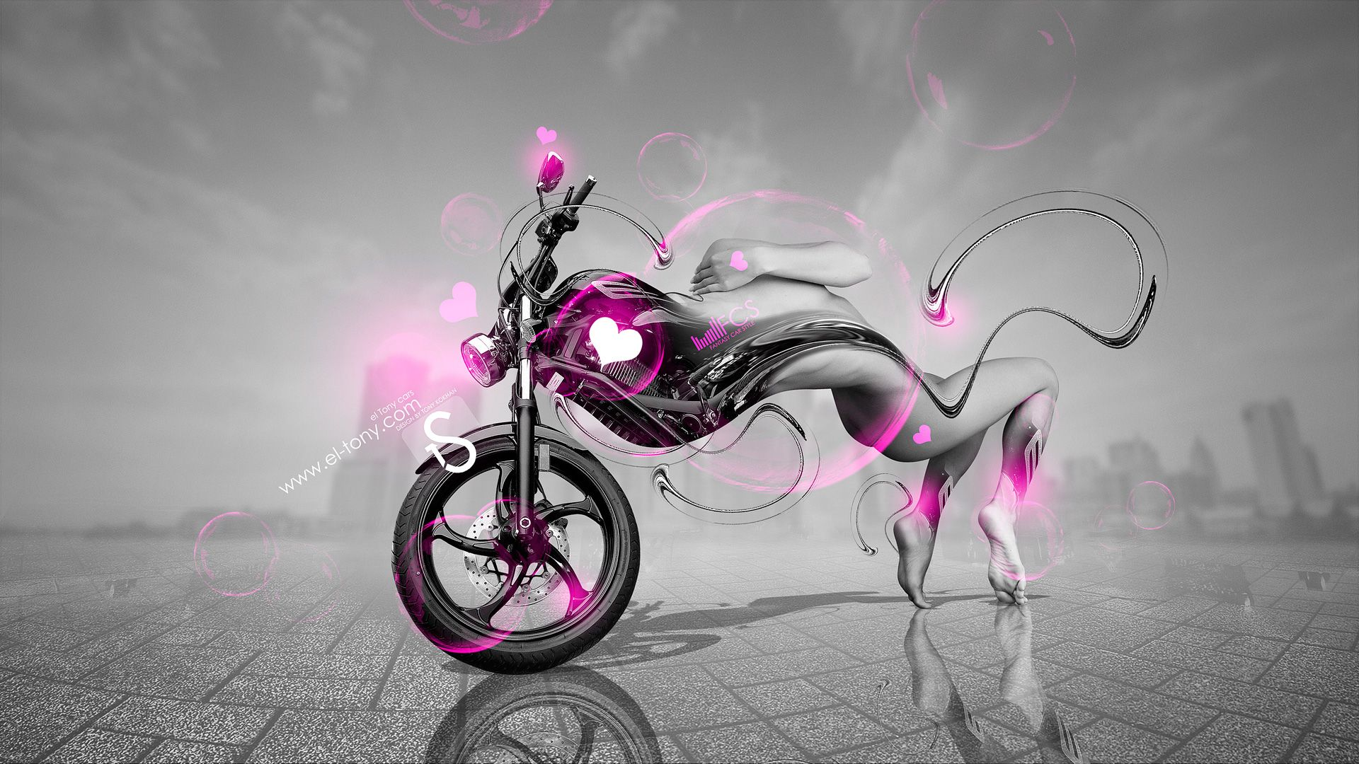 Merveilleux Velo Bike CKT Fantasy Sexy Girl 2013 Violet Neon HD Wallpapers Design By Tony Kokhan Www.el Tony.com_  (Изображение JPEG, 1920 × 1080 пикселов) U2026