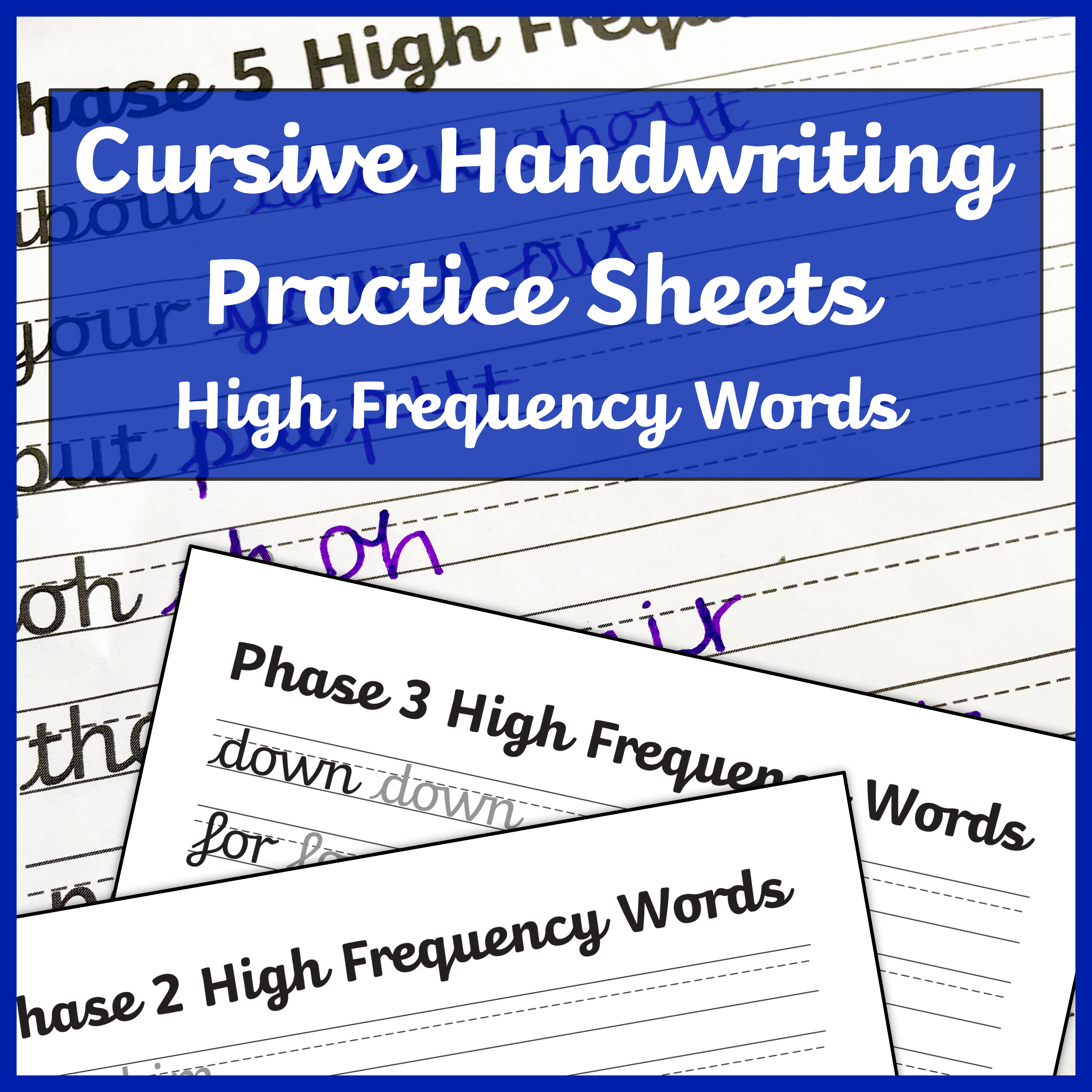 Cursive Handwriting Worksheets High Frequency Words