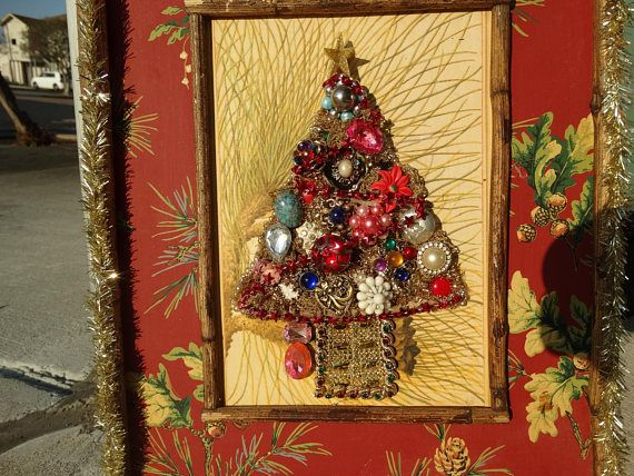 jeweled christmas tree wall hanging decoration heirloom - Christmas Wall Hanging Decorations