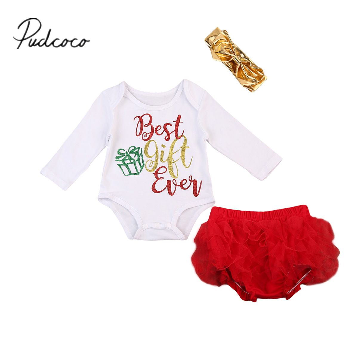 Pudcoco Newborn Baby Christmas Girls Best Gift Ever Top Romper Xmas Tutu Shorts 3pcs Outfits Baby Girl Christmas Outfit Baby Girl Outfits Newborn Xmas Outfits