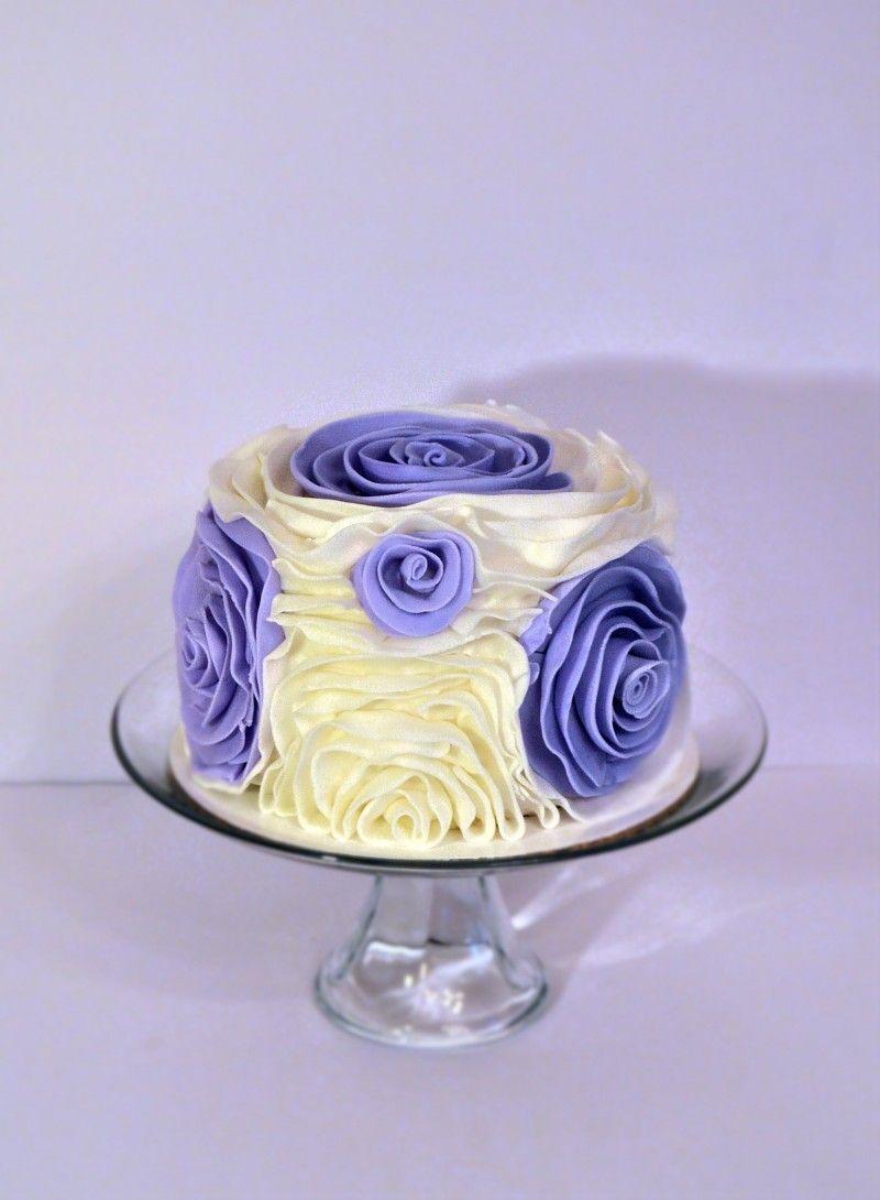 Lavender And White Ruffle Rose Cake Ruffle Rose Wedding Cake Jacksonville Fl Cake Decorator