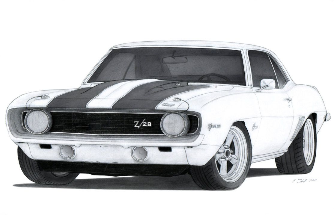 1969 Chevrolet Camaro Z/28 Drawing by Vertualissimo | caricaturas ...
