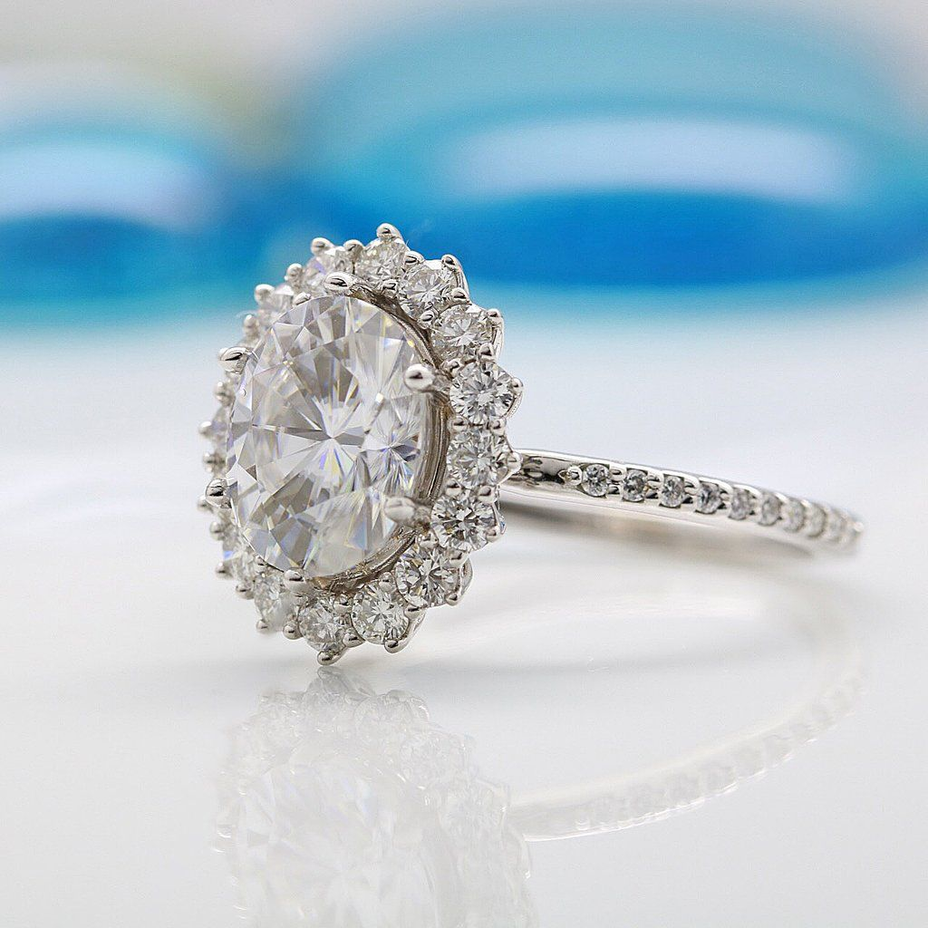 9x7mm Oval Moissanite The Duchess Cluster Halo Ring | When I