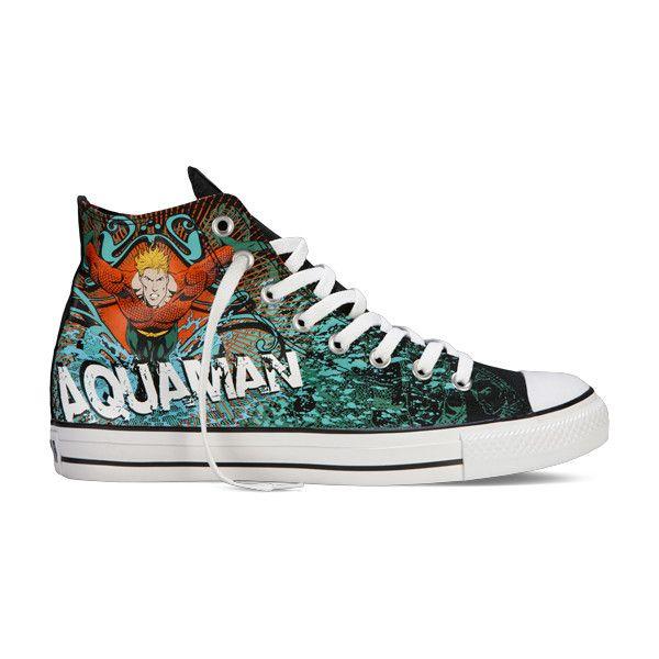 dfe4a242f7ec5 Converse - Chuck Taylor DC Comics- Aquaman - Hi - Black Aqua ( 40) ❤ liked  on Polyvore