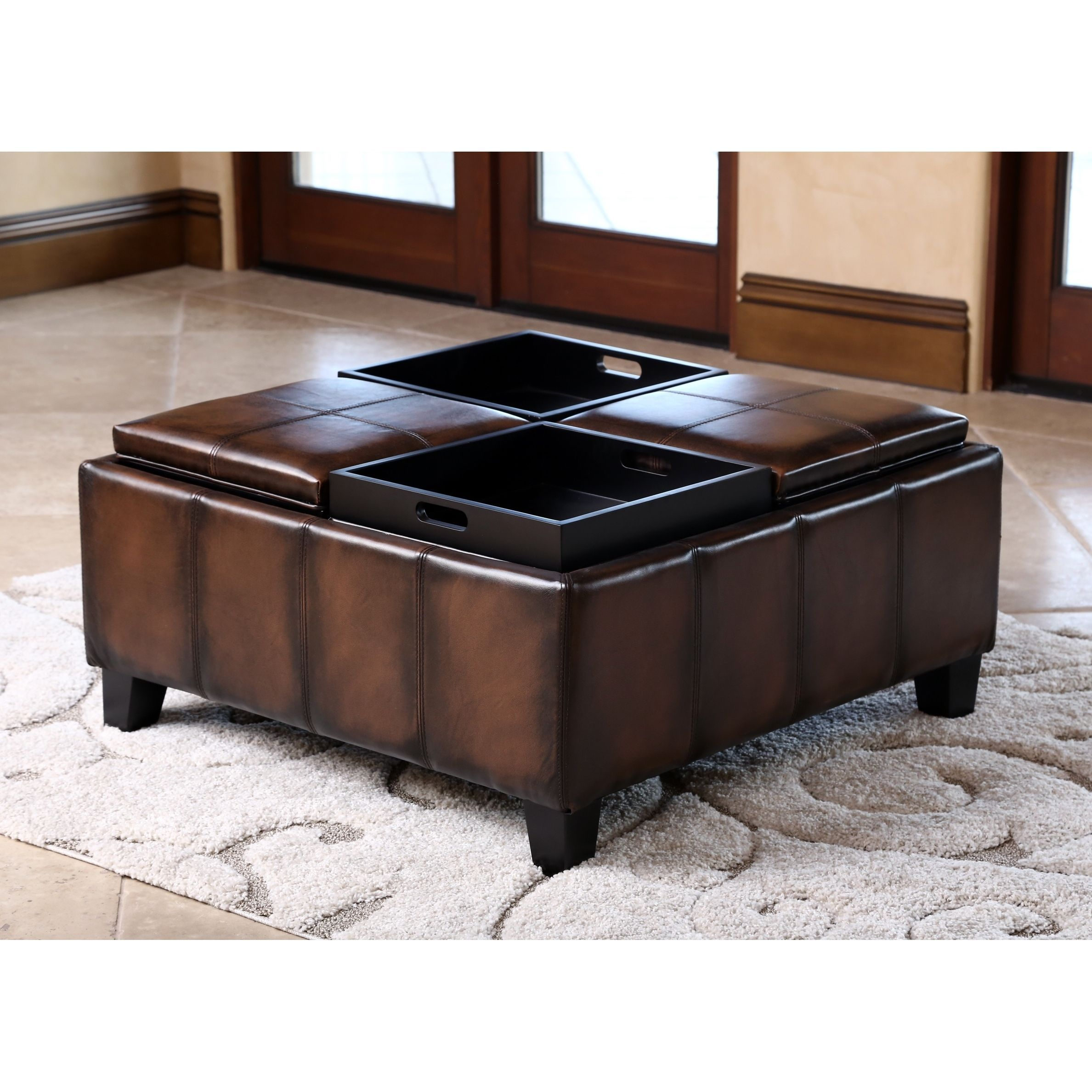 Enhance Decor With Elegant Leather Ottoman Featuring Solid Hardwood Legs And Four