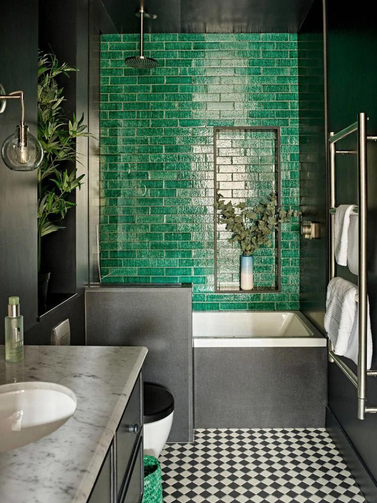 Bathroom Design With Green Shiny Tiles And Black White Floor Decor Is So Inspiring And Modern Bathroom Interior Design Green Bathroom Bathroom Interior