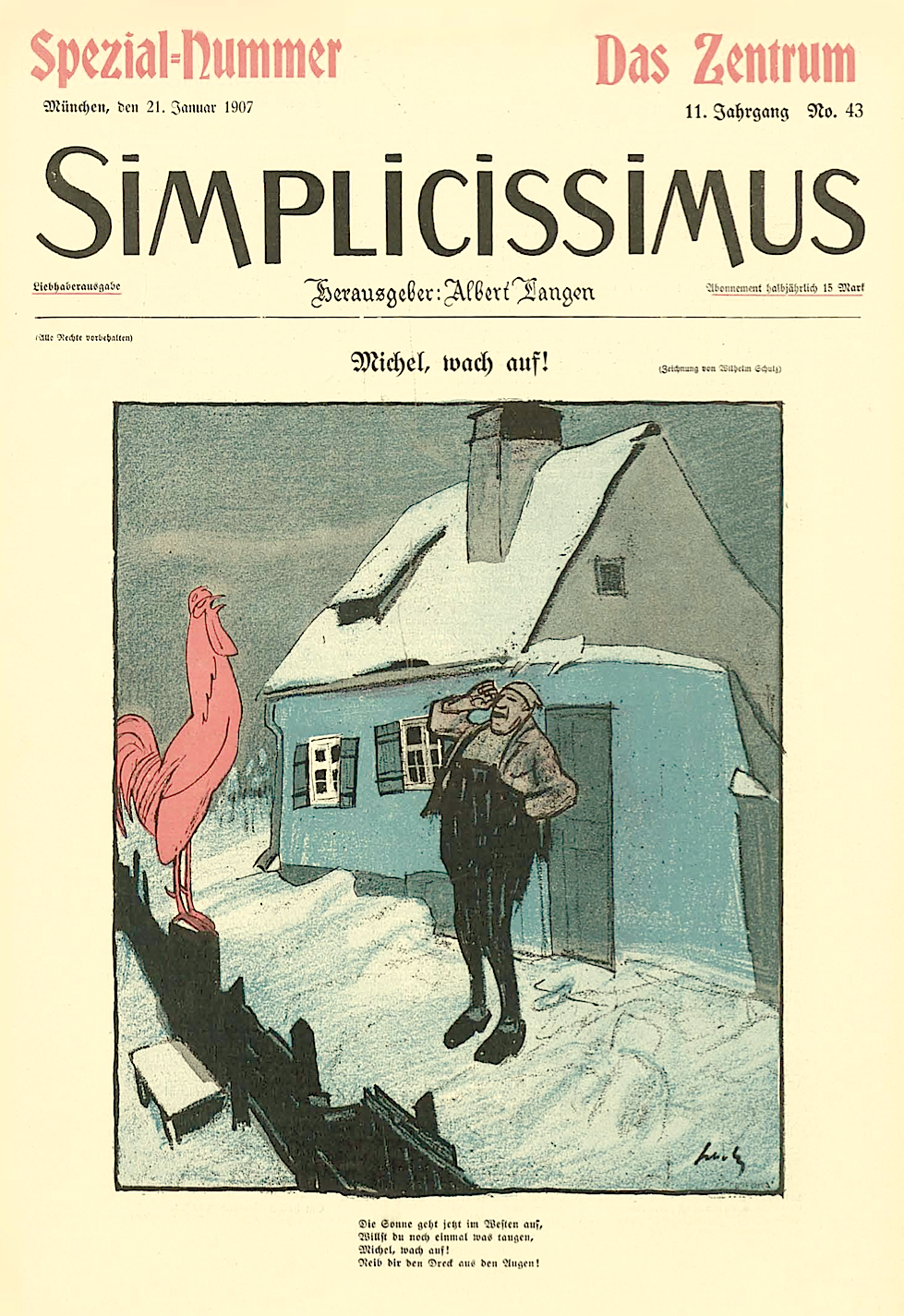 [1907, Jan 21] Michel, wake up! (Michel, wach auf!), Wilhelm Schulz cover of Simplicissimus 43, Vol. 11, p.685
