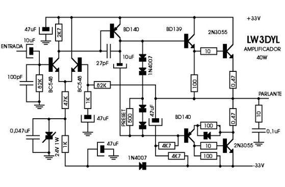 amplificador de udio com 2n3055 eletronicos t