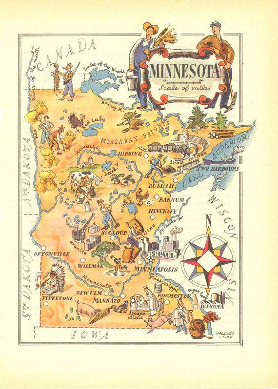 Minnesota Illustrated Vintage Map United States USA Old Map - Minnesota map usa