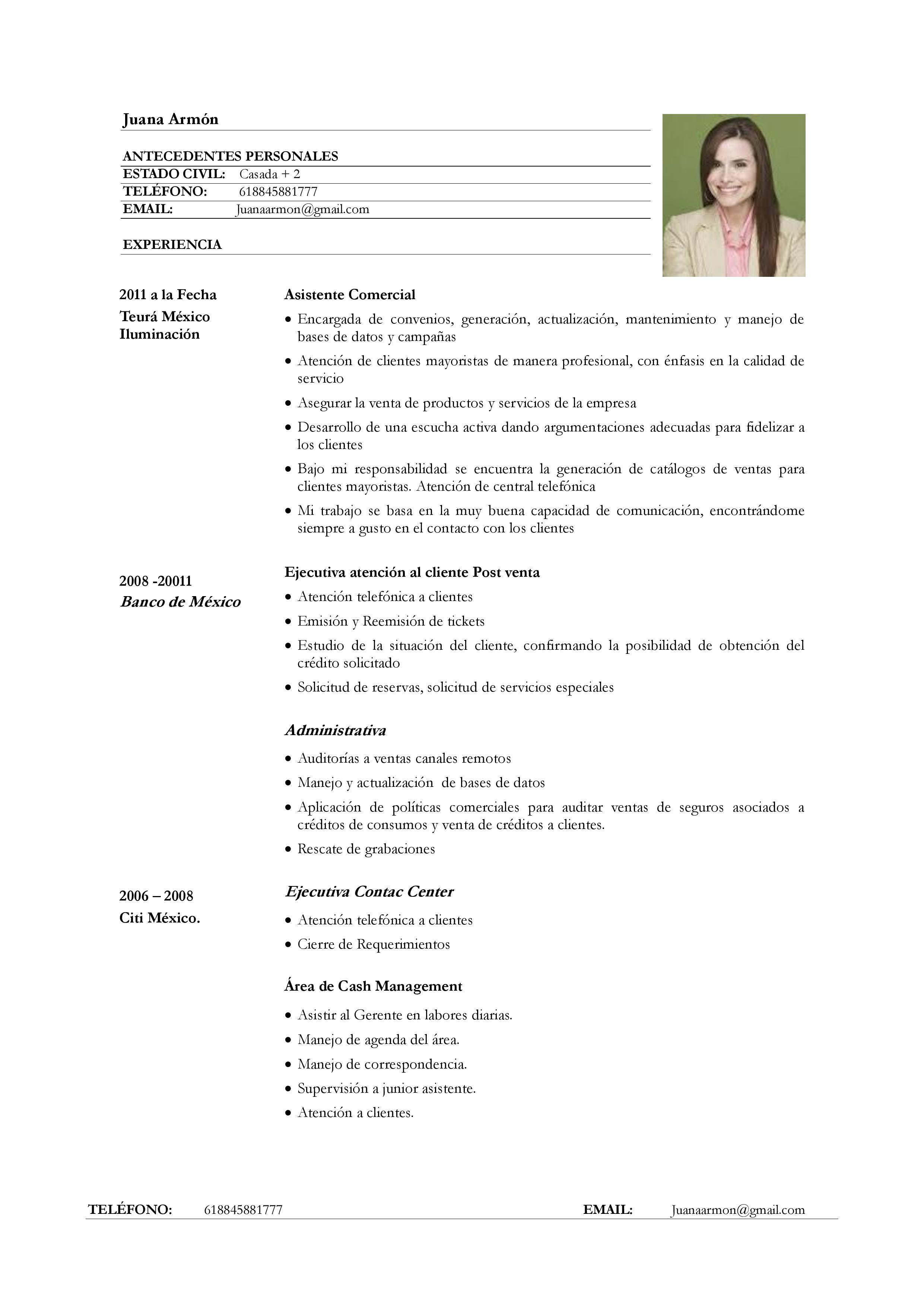 ejemplo de curr u00edculum vitae para servicio de atenci u00f3n al