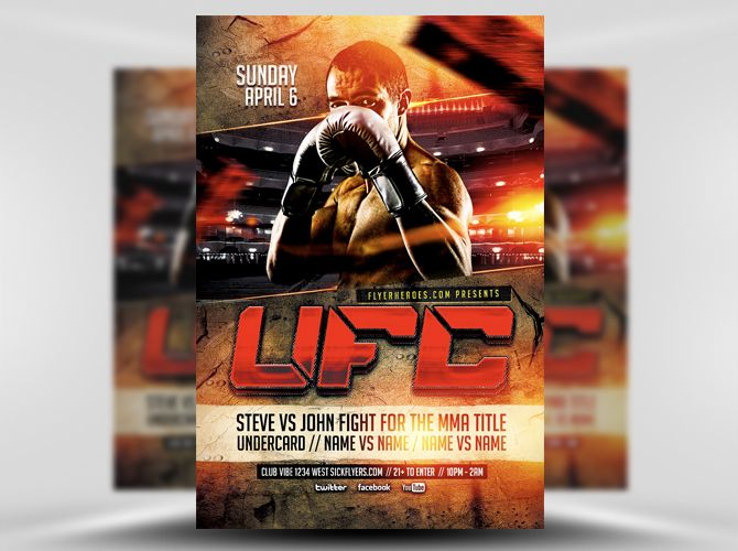 Ufc Style Flyer Template   Flyer Templates    Flyer