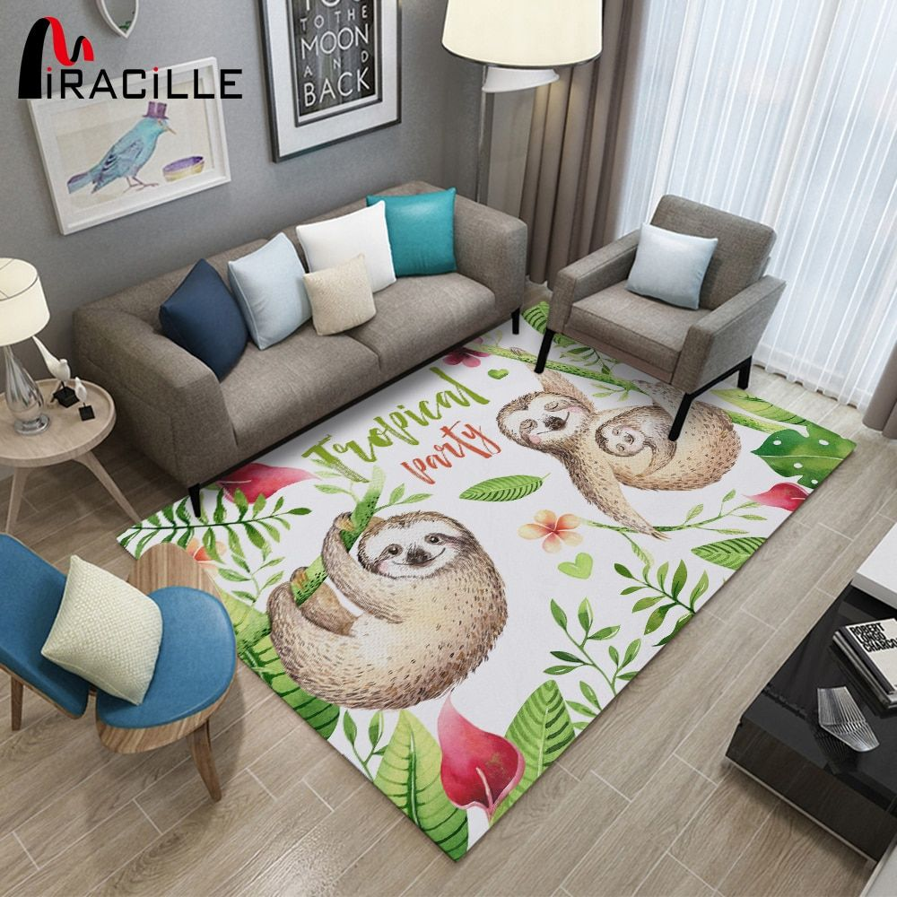 Miracille Cute Cartoon Sloth Large Area Rugs Living Room Rectangle Carpet Non-slip Floor Mat For Bedroom