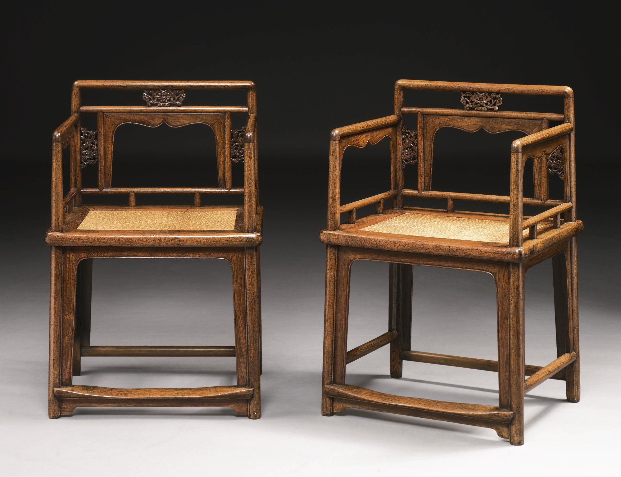 A Pair Of Huanghuali Low Back Armchairs Meiguiyi Br 17th Century