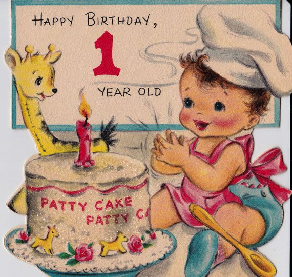 Vintage Hallmark 1950 Happy Birthday 1 Year Old Greetings Card B8 – Birthday Greetings for 1 Year Old