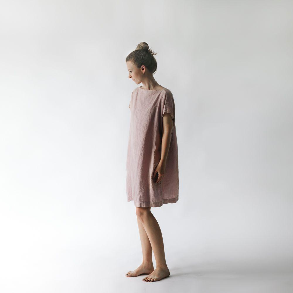 6d3bfd58d26c7d Lniana sukienka prosta różowa Mofflo Dusty Pink, Linen Dresses, Normcore,  High Neck Dress