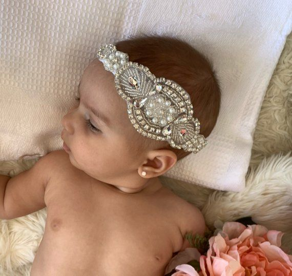Lace Vintage Rhinestone Pearl Baby Headband Vintage Flower Girl Headband baby hair accessory Baby ba #babyhairaccessories