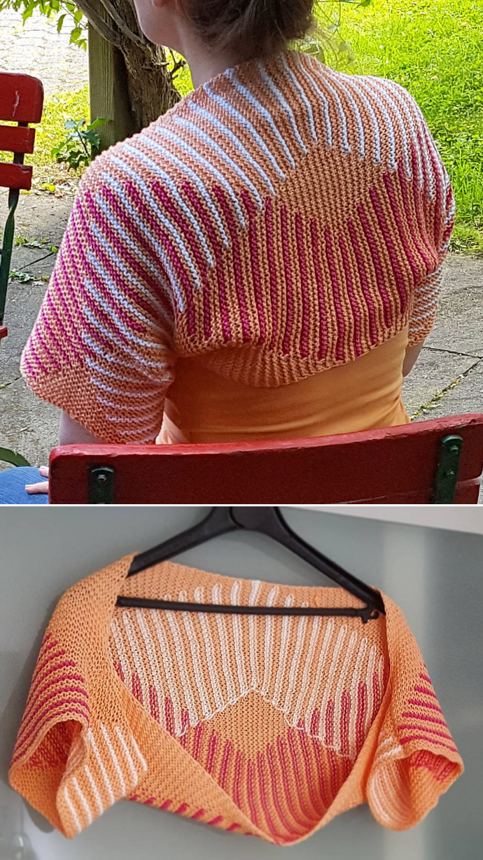 Shrug and Bolero Knitting Patterns | Contrast color, Knitting ...