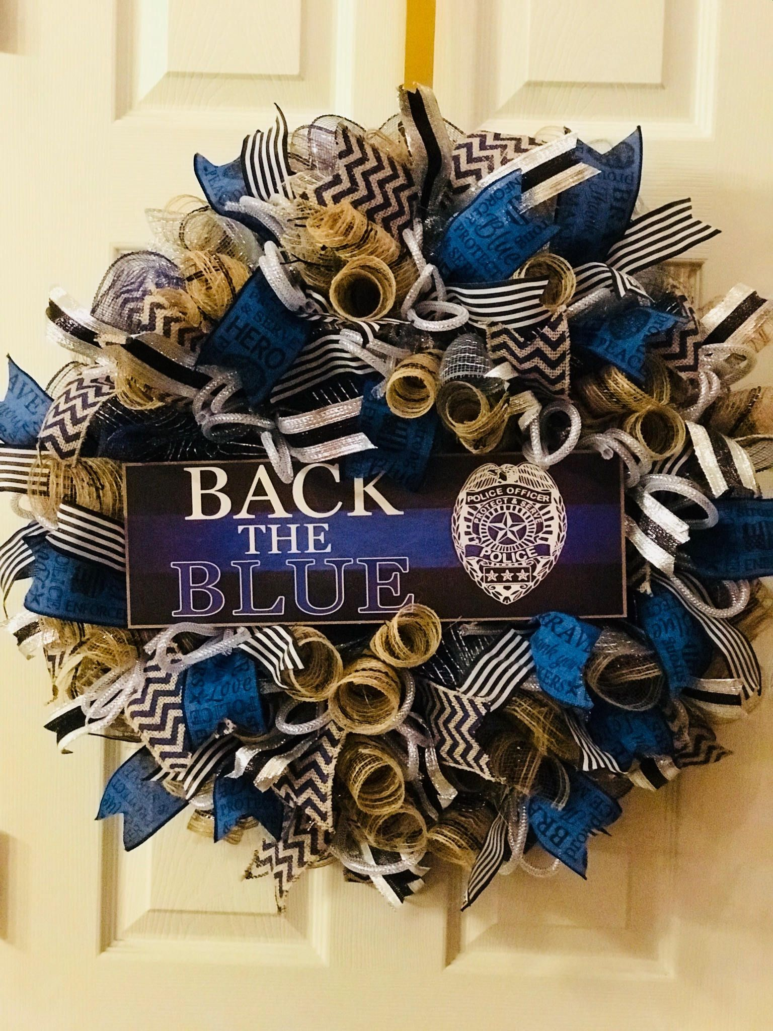 Back The Blue Deco Mesh Wreath Back The Blue Wreath Support Blue