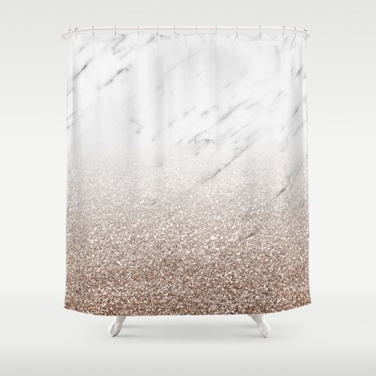 Shower Curtain Glittery Rose Gold Glitter Ombre With White