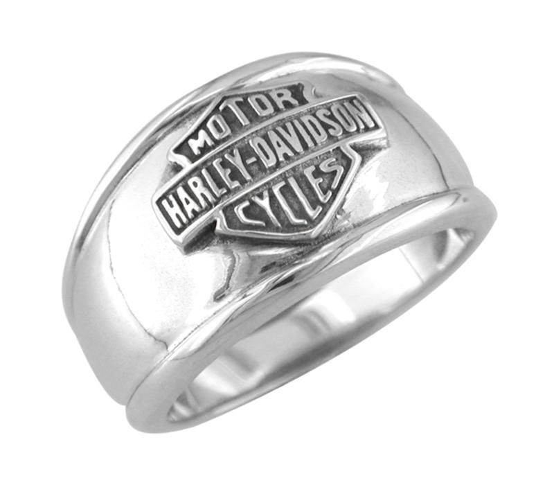 harley davidson mens cigar band bar and shield ring hdr0118 - Harley Wedding Rings