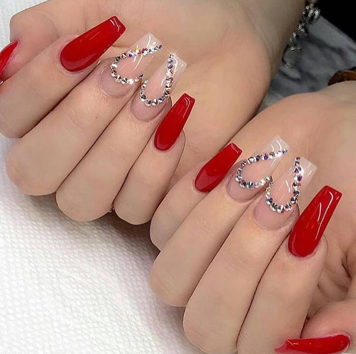 Short Coffin Nails Bling Hearts Red Acrylic Nails White Acrylic Nails Pretty Acrylic Nails