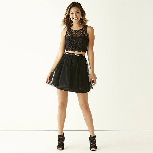 My Michelle Sleeveless Crochet Bust Top And Party Skirt 2 Pc Set